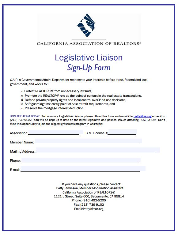 Legislative Liaison Sign-Up Form