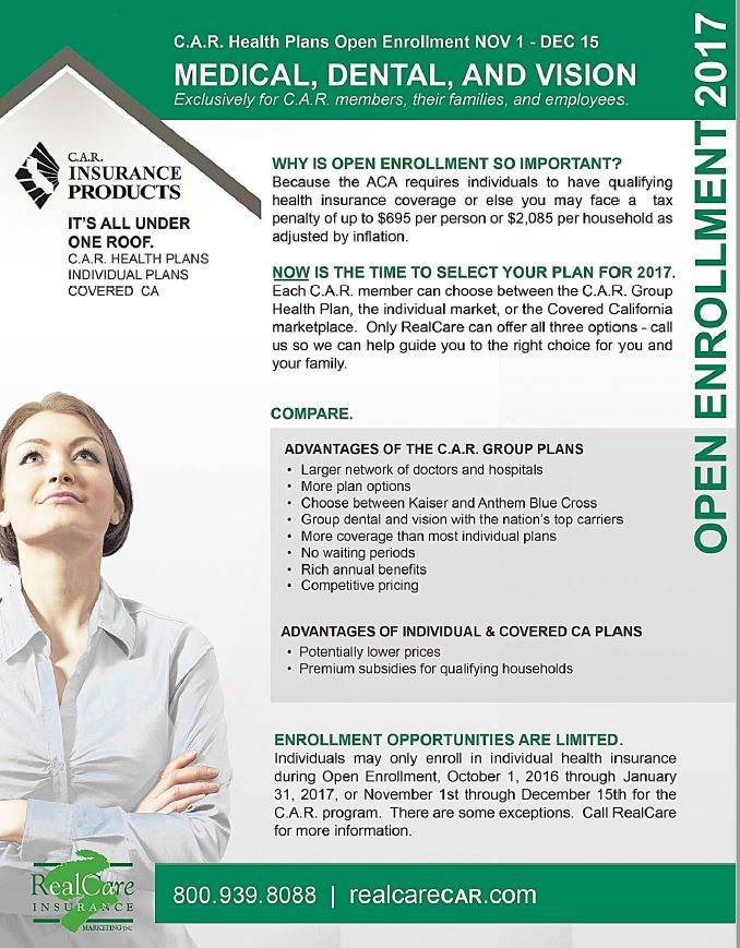 CAR Insurance Open Enroll Flyer